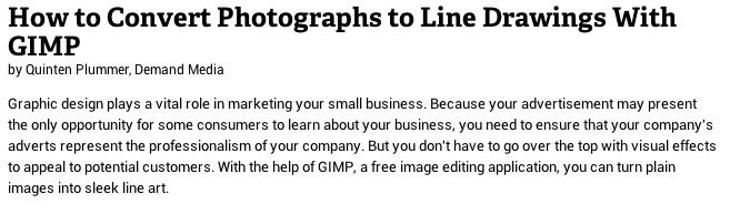 How to convert photographs to line drawings with GIMP-useful for map making and customization among other things.