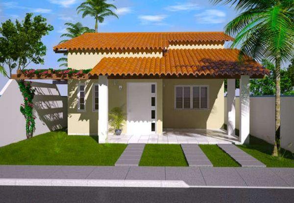 Plano de casa económica de tres dormitorios, garage, dos baños y 110 metros cuadrados