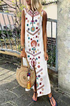 Hvite Bohemian rett hakk med utskrevne mønster Maxi kjoler (stil V100021)  Bohemian Straight Notched Printed Pattern Maxi Dresses (Style V100021)