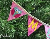 Personalized banner, fabric banner,owl theme -Photo prop, party decoration,baby shower shower decor