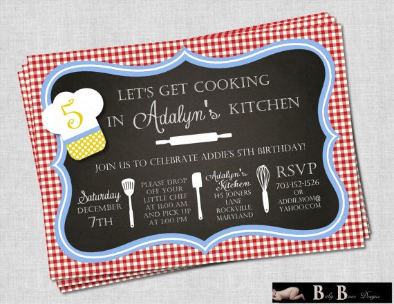 Chef or Cooking Birthday Party Invitation red by BabyBunsDesigns, $12.50 I like the red gingham check--