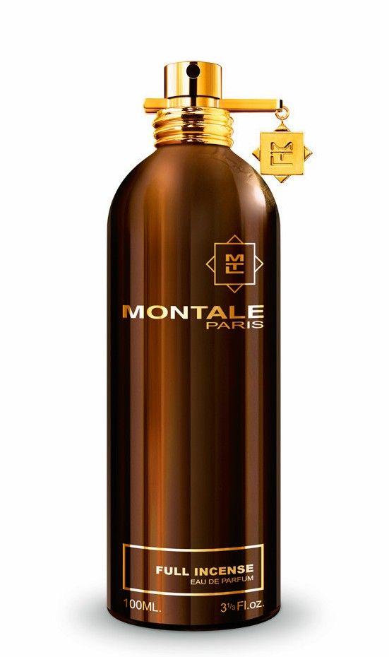 Full Incense MONTALE - zapach pełen kadzidła. Głównym składnikiem jest wysokiej jakości somalijskie olibanum, któremu towarzyszą aromaty pikantnej żywicy elemi, gorącego labdanum, ziemistej paczuli, suchego cedru, i miękkiej ambry. Rodzina zapachowa: orientalno-drzewna #montale
