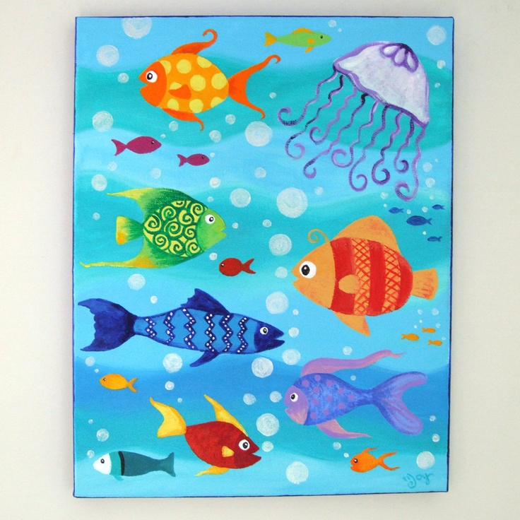 Happy fish 4 11x14 inch acrylic painting fish art for Canvas painting for kids