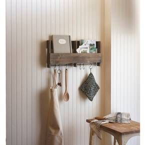 """Wooden Shelf with S Hooks : for entry way keys and mail - 11 3/4"""" H 24"""" wide 2 3/4"""" deep."""