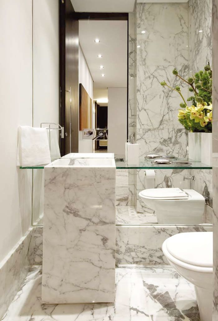 P Carrara Marble Powder Room P Bath Shower