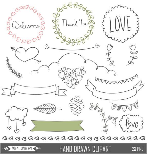 Hand Drawn Clipart Digital Laurel Clip Art Wedding por PixelShmixel