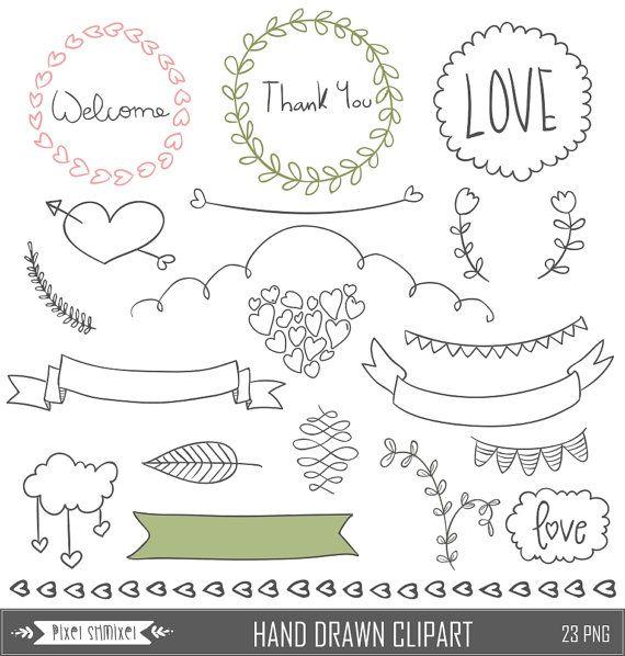 Hand Drawn Clipart Digital Laurel Clip Art Wedding by PixelShmixel, $3.39