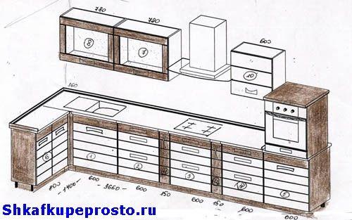 Фото угловой кухни.