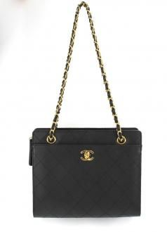 Chanel Shoulder Bag In Black Caviar Leather and Gold Hardware $1350