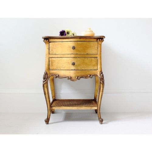 Two Drawer French Bedside in Gold