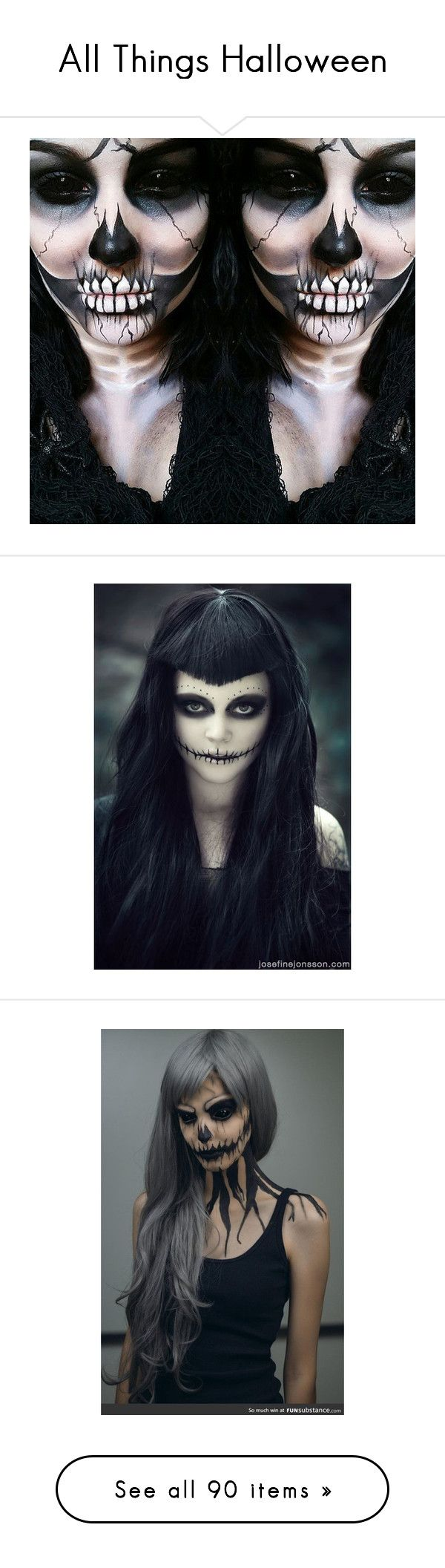 """""""All Things Halloween"""" by macklfryhover ❤ liked on Polyvore featuring art, makeup, beauty products, skull makeup, face makeup, zipper face makeup, zipper makeup, halloween, going out makeup and holiday party makeup"""