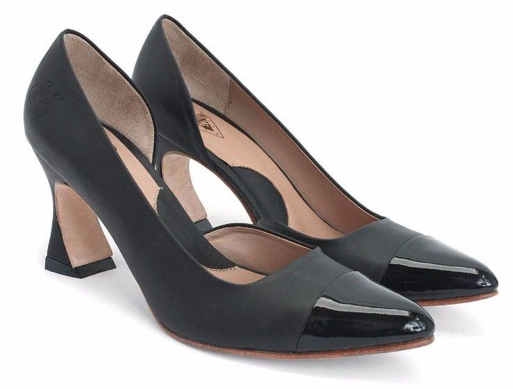 JOHN FLUEVOG SHOES BIG PRESENCE STEINEM D'ORSAY PUMP PATENT CAP TOE HEELS 7.5 #JohnFluevog #Heels #Casual