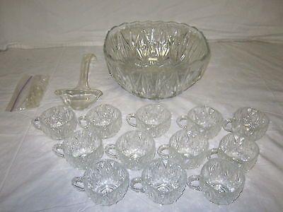 Vintage Square Glass Crystal Punch Bowl & Set - 1960's - Starburst ...