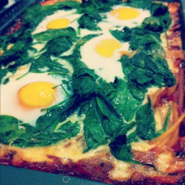 Baked eggs, Pink shoes and Spinach on Pinterest