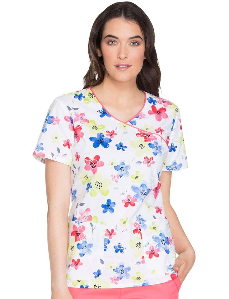 Runway by Cherokee Magnificent Meadow Scrub Top