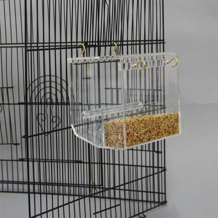 Acrylic Automatic Bird Feeder Pet Bird Cage Feeder Food Container Feeding Parrot Cockatiel Automatic Feeders