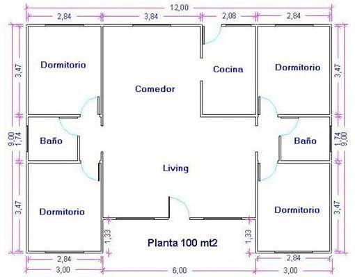 Plano de casa grande de 100m2 y 4 dormitorios