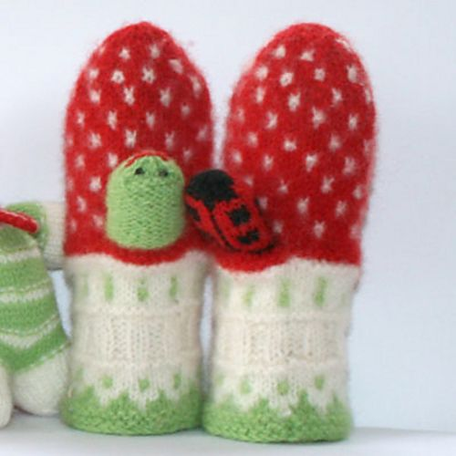 Little Mushroom Mittens by Jorid Linvik. These are too cute, but the pattern is no longer on Jorid's website. Link on Ravelry at http://www.ravelry.com/patterns/library/little-mushroom-mittens