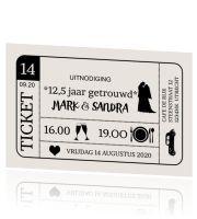 Originele jubileum uitnodiging ticket 12,5 jaar getrouwd – #125getrouwd #20jaarg…