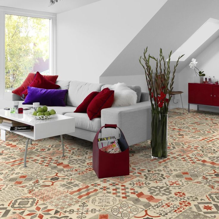 PVC Boden Tarkett Exclusive 240 Retro Almeria Red 3m Bodenbeläge PVC Belag Fliesen - Dekor