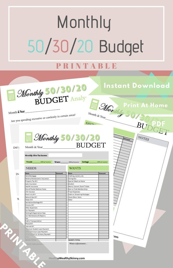 Monthly 50 30 20 Budget Worksheet Pdf Available In Various Colors Monthly Budget Budget Printables Budgeting Worksheets