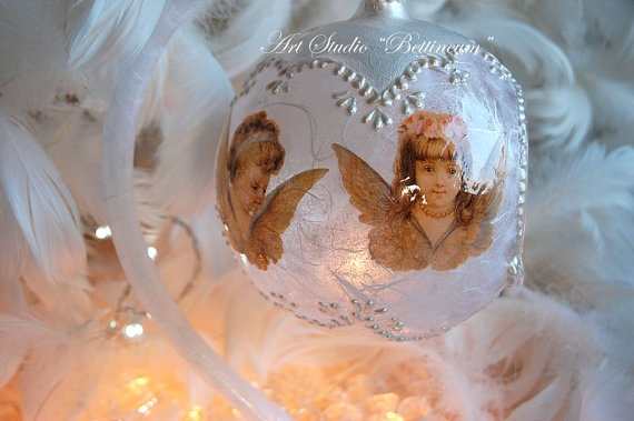 Angel Lantern Glass Ornament by Bettineum on Etsy, $40.00