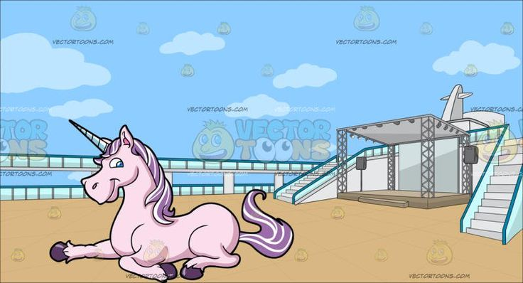 A Pretty Pink Unicorn With An Empty Deck Of A Cruise Ship Background:   A pink unicorn with purple and white mane and tail violet horseshoes and white spiraling horn resting on a surface lips sealed in a smirk and An empty cruise ship deck with a stage set complete with speakers and lights surrounded by rails and two stairs flooring made out of beige wood