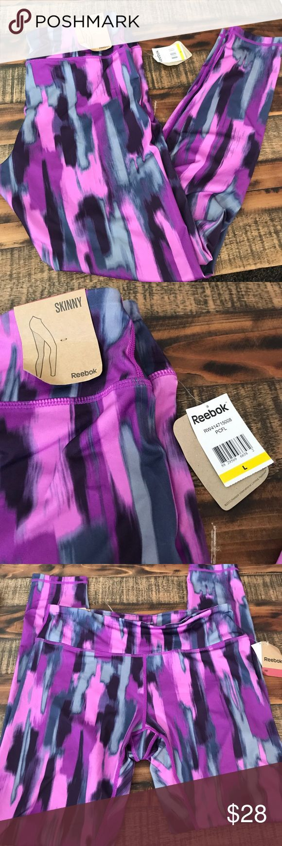 Reebok purple skinny workout leggings large Brand new with tags Reebok Pants Leggings
