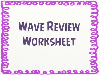 This is a great review over the basics of waves. Students have to label the parts of a transverse wave, use a diagram to determine if it has a high or low frequency, draw a wave with a long wavelength, and more.  This can be used for classwork, homework or a quiz.