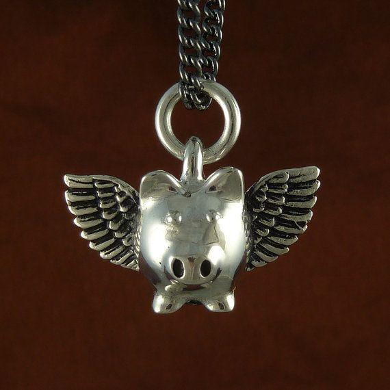 Flying Pig Necklace Antique Silver Flying Pig