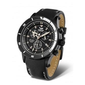 Reloj de Cuarzo Vostok modelo Anchar Cronógrafo sumergible 20ATM, caja de acero con tratamiento PVD Negro, esfera en colores negro y blanco. Correas intercambiables de cuero y de gel. GTLS Trigalights.  http://www.tutunca.es/reloj-vostok-anchar-cronografo-pvd-negro