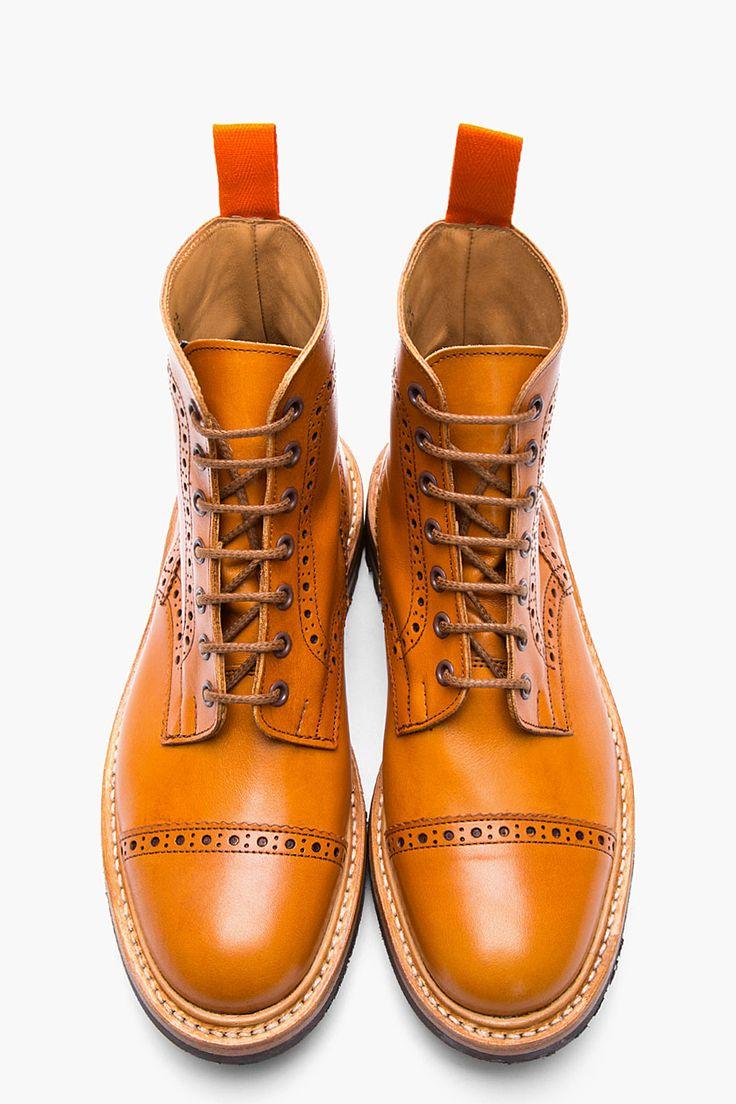 JUNYA WATANABE Tan Leather Quarter Brogue Super Boots