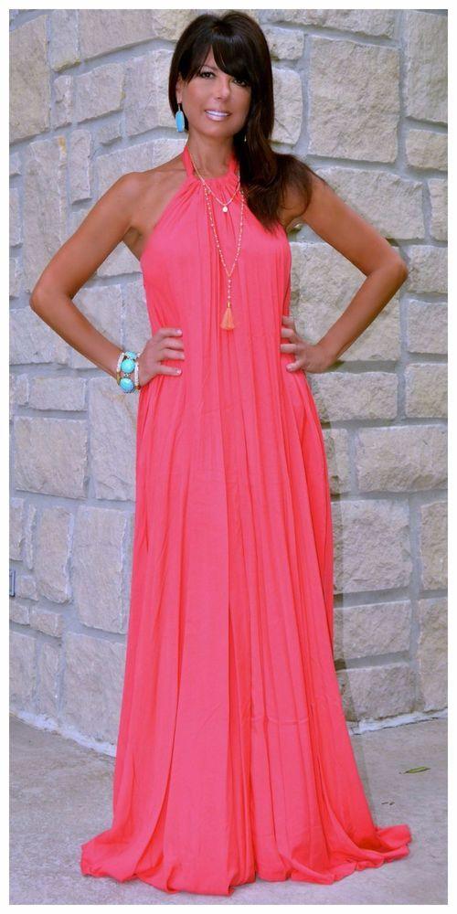 Goddess flowy solid coral halter maxi dress summer beach s ...