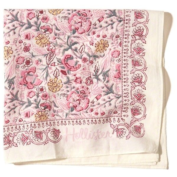 Hollister Square Cotton Bandana ($4.98) ❤ liked on Polyvore featuring accessories, scarves, cream floral, bandana scarves, floral shawl, cotton handkerchiefs, cotton scarves and square scarves