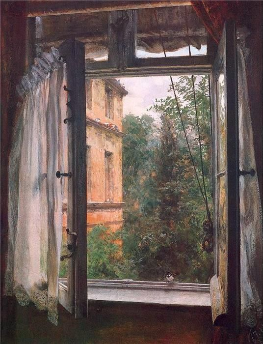 View from a Window in the Marienstrasse, Drawing by Adolph Von Menzel (1815-1905, Poland)