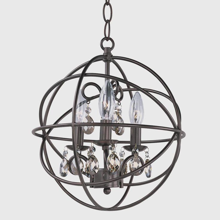 Metal cage globe and crystal mini chandelier