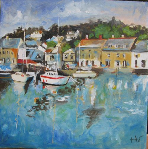 Acrylic painting of a Cornish harbor. Following a tutorial of Will Kemp Art School.