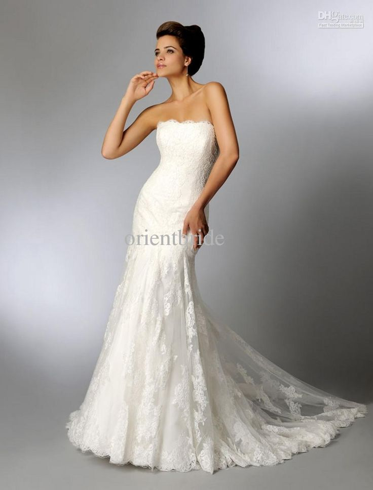 Fabulous Gorgeous Strapless Scalloped Lace Neck Slim Fit And Flare Lace Ruched Bodice Wedding Dresses