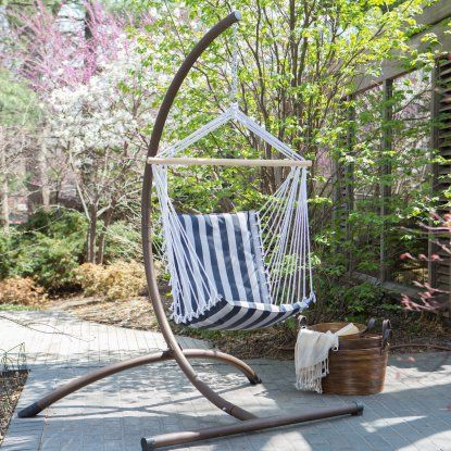 Island Bay Navy and White Stripe Padded Sling Hammock Chair with Steel Stand