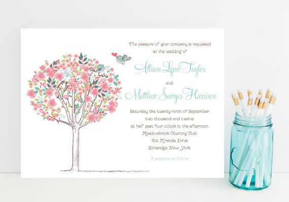 Cute Wedding Invitation - Charming, Soft Floral Theme - Pink Wedding Invitation - Sweet Wedding Invitations