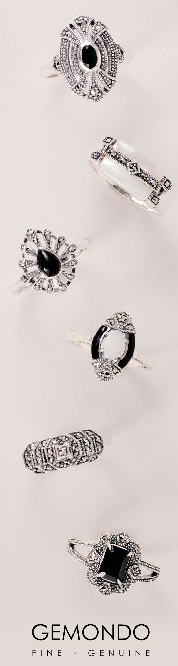 A few of our favourite Art Deco style sterling silver rings with marcasite, spinel, opal and onyx gemstones inspired by vintage fashions of the 1920s. See more at www.gemondo.com/art-deco-jewellery