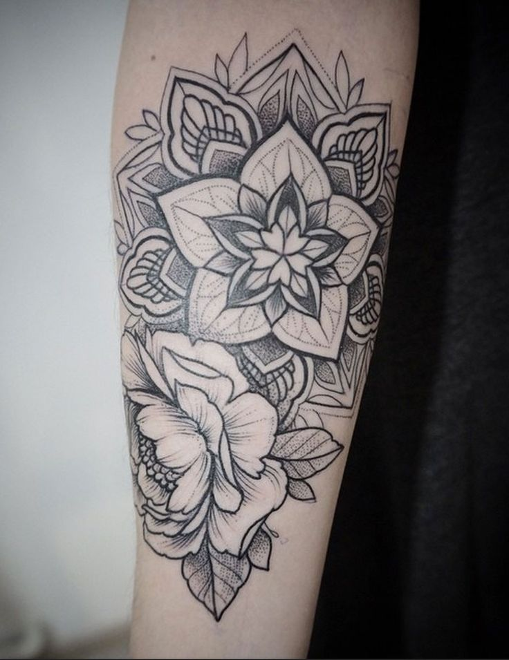 Mandala floral in black dotwork by Alex Tabuns, St. Petersburg, Russia #ink #tattoo