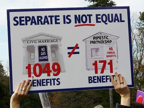 Separate is NOT equal. Anytime someone tells you that LGBT people should only seek civil unions or domestic partnerships (like here in Oregon), remind them of this. We want full marriage equality, which includes the use of the term 'marriage'.