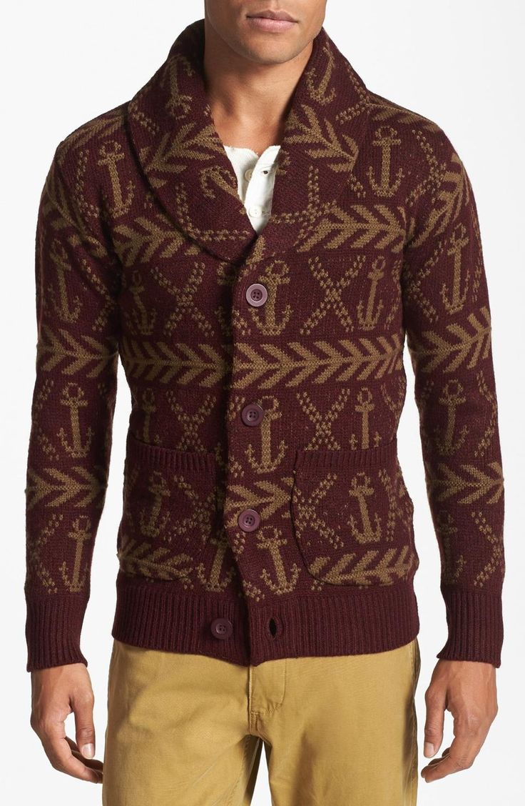 Love the Obey 'Anchors' Shawl Cardigan on Wantering | Winter Trends for Men | Chunky Knits | mens sweater | mens shawl cardigan | menswear | mens fashion | mens style | wantering http://www.wantering.com/mens-clothing-item/obey-anchors-shawl-cardigan/afEwi/