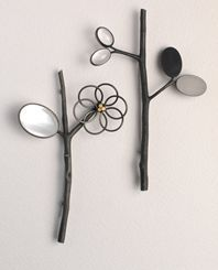 Anna Gordon / ikebana brooches with mother of pearl and rock crystal