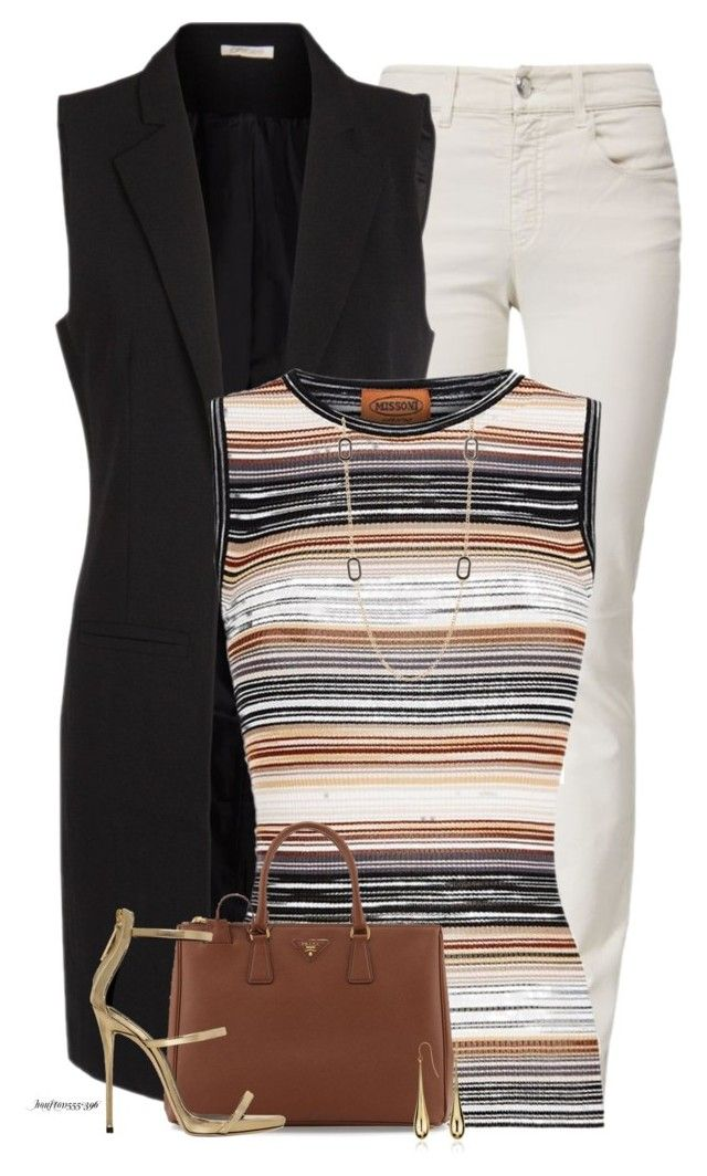 """""""Pieces Long Vest"""" by houston555-396 ❤ liked on Polyvore featuring Armani Jeans, Pieces, Missoni, Prada, Giuseppe Zanotti, Nordstrom Rack and Blue Nile"""