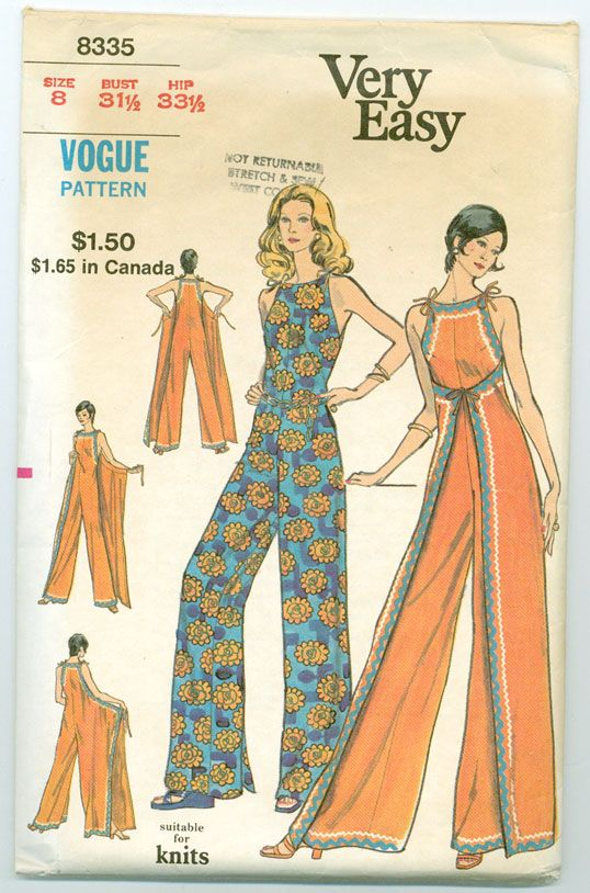 70s Pantsuit hostess floral blue red wrap style halter wide leg pants disco evening wear party outfit Vogue 8335; ca. 1972; Misses' Lounge Jumpsuit. Loose-fitting, front or back wrapped jumpsuit has self ties and optional rick-rack trim. Featured in Vogue Patterns Leaflet July 1972