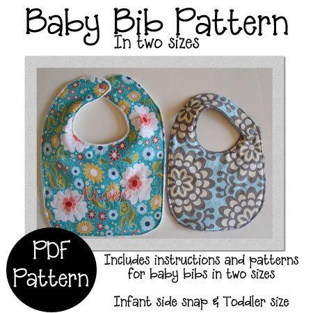 Baby Bib PDF Sewing Pattern, Bib Pattern in 2 sizes on Etsy, £3.22