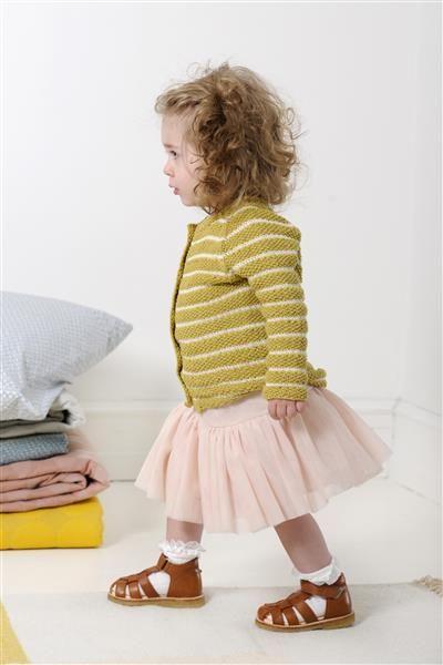 1507: Design 2 Jakke i perlestrikk med stripemønster #strikk #knit #bomull #cotton