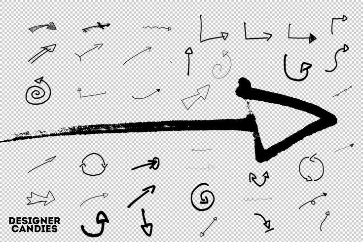 80 Hand Drawn Arrows PS Brush Set DesignerCandies